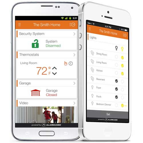 Control your home from the Alarm.com app.